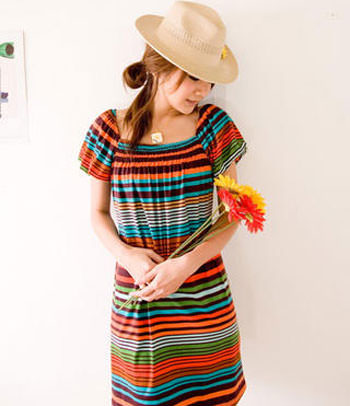 stripped colourful dress
