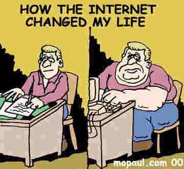 Image result for caricature of a man looking a the internet