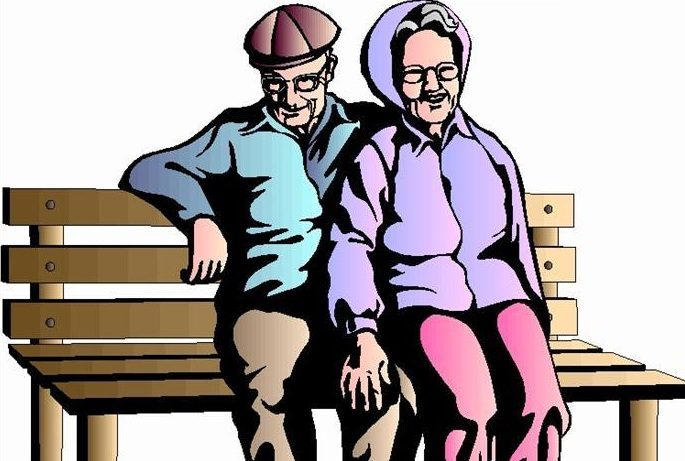 image of old couple on a bench
