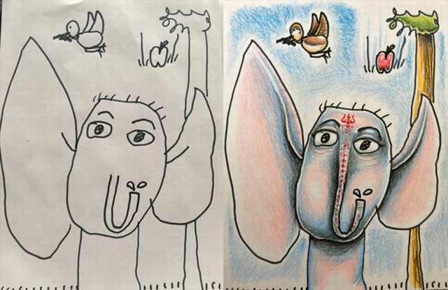 dad colors kids drawings