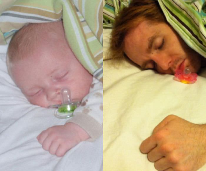 dad imitates baby