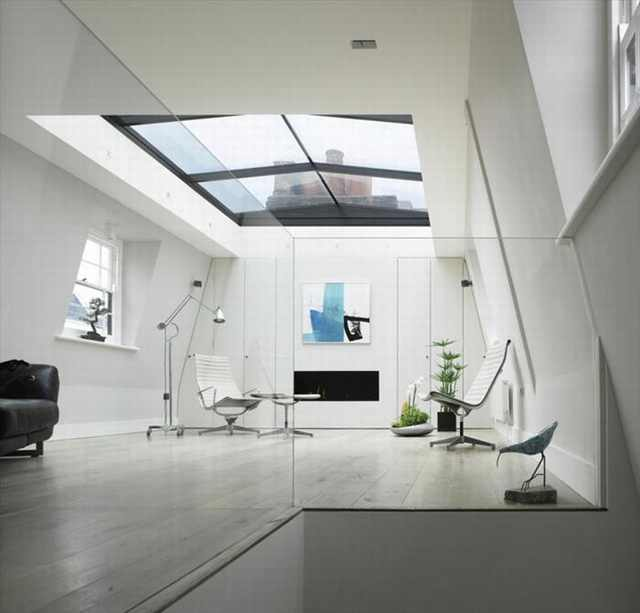 house with open glass ceiling
