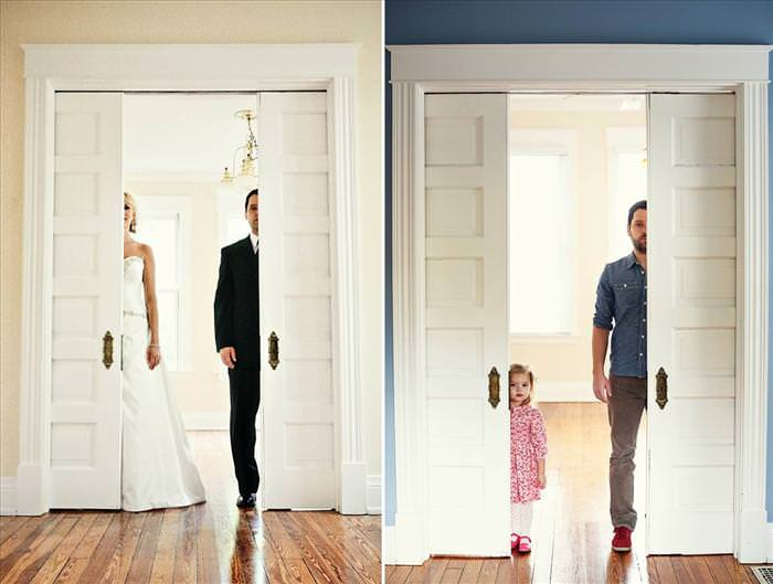 father daughter recreating wedding photos