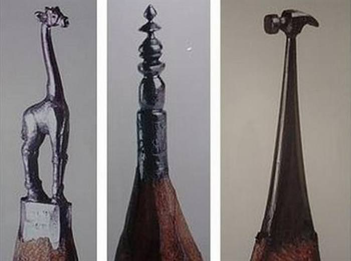 Miniature Carvings on Lead Pencil Tips