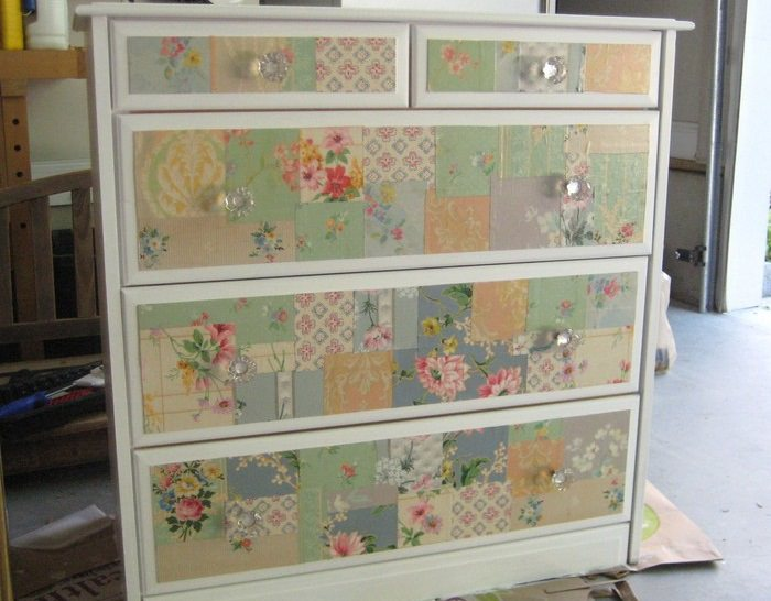 Make Old Furniture Look New Again With Wallpaper. Fixing Furniture