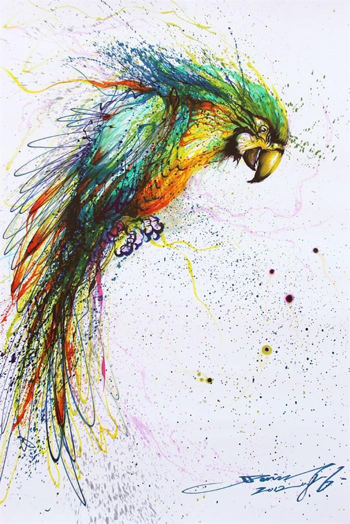 this artist turns splattered ink into works of art art babamail
