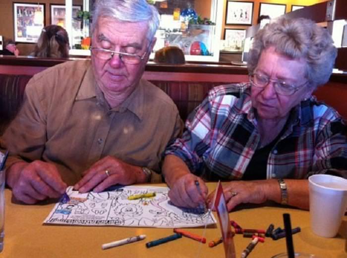 elderly couples having fun