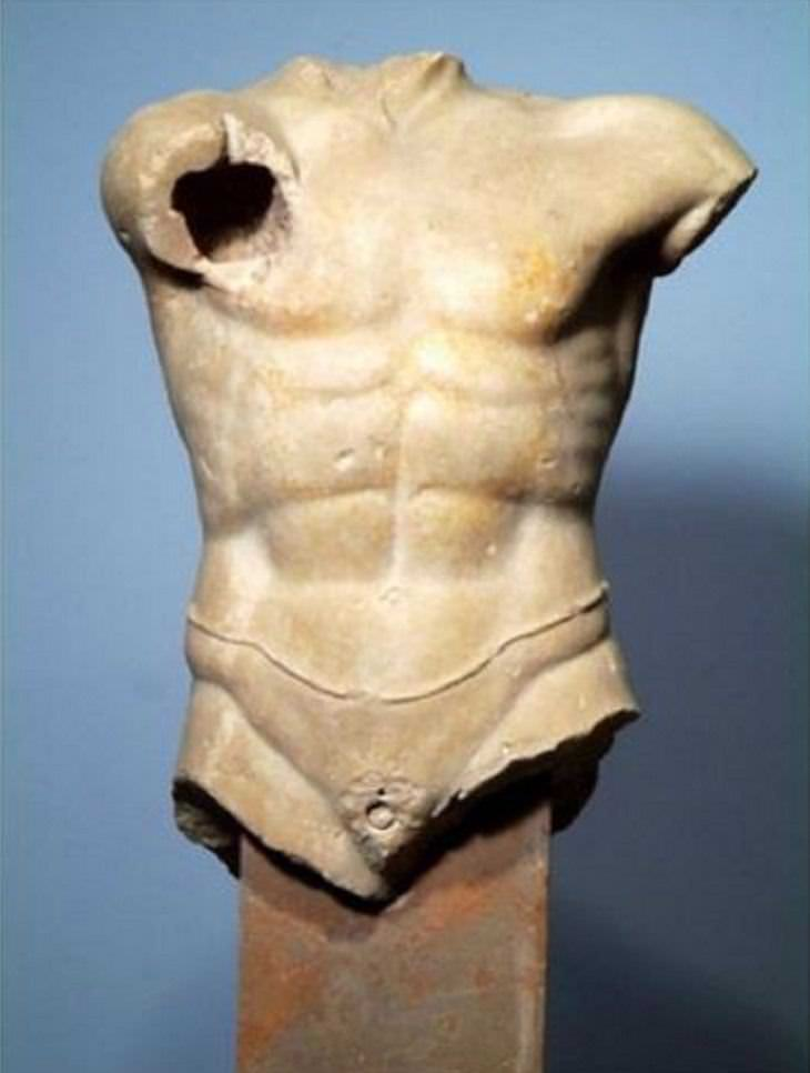 classical sculpture, painted