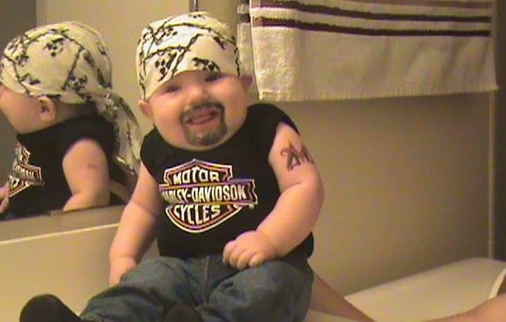 baby, Harley Davidson, biker, bad dad