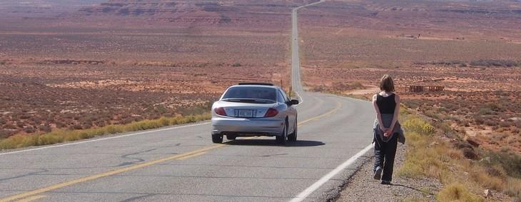 car, desert, girl