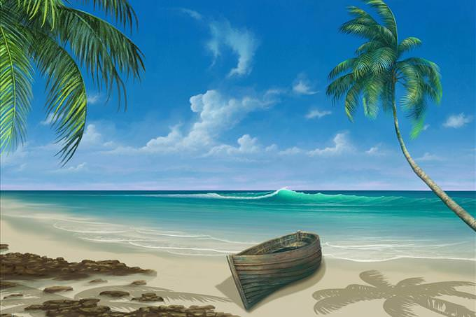 tropical beach with boat