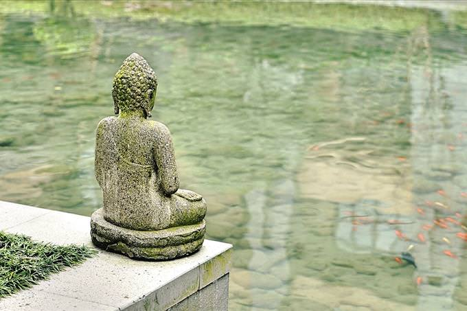 Buddha statue by pond