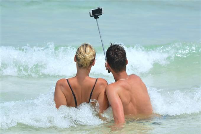taking selfie in the sea