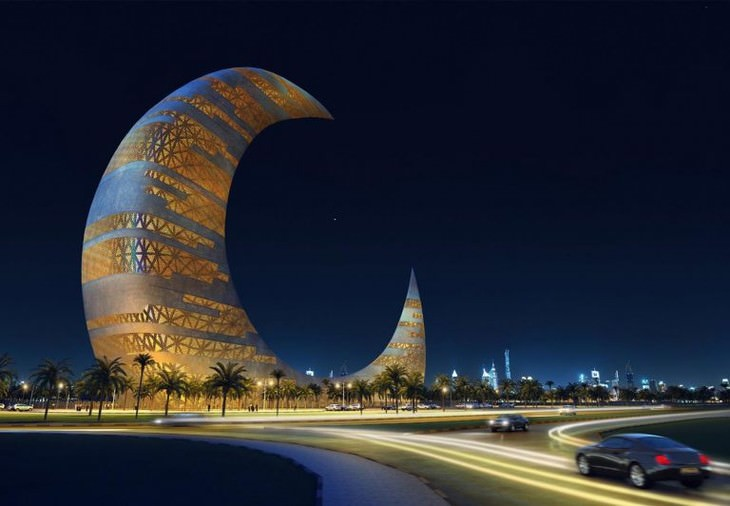 Futuristic Buildings Crescent Moon Tower