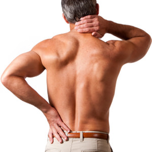 joint pain: muscular male back against white background