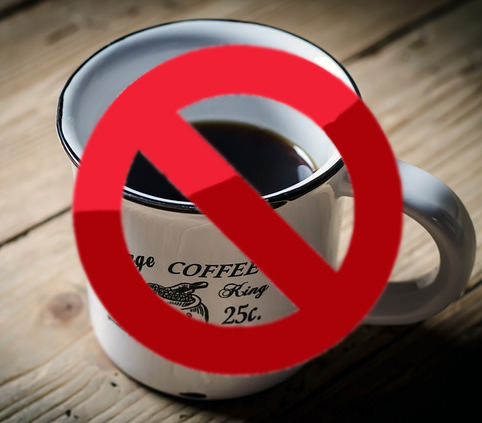 ban sign on coffee