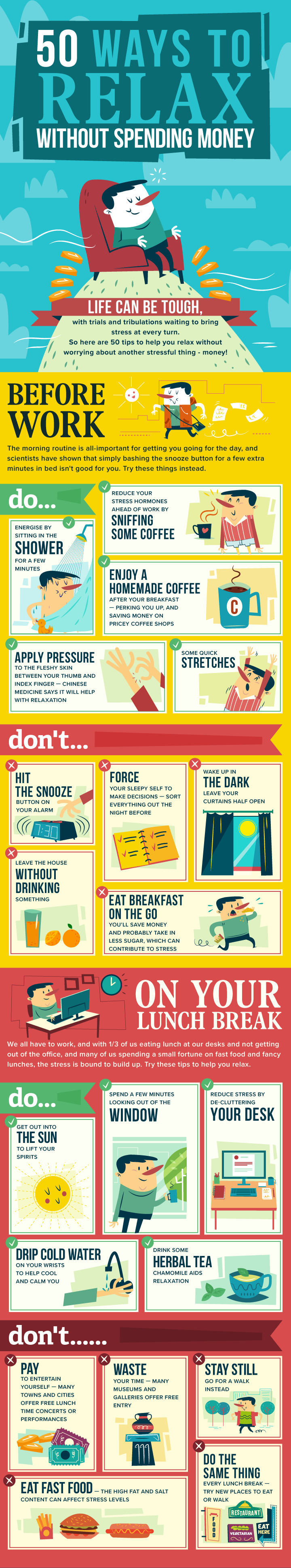 50 ways to relax without spending infographic