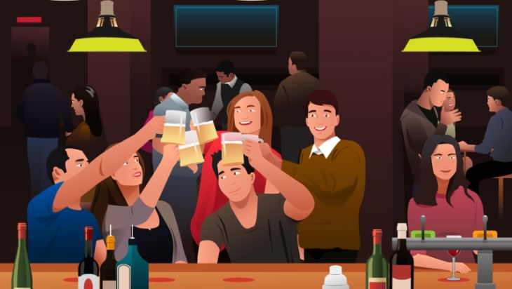 joke group of people drinking beer at a bar