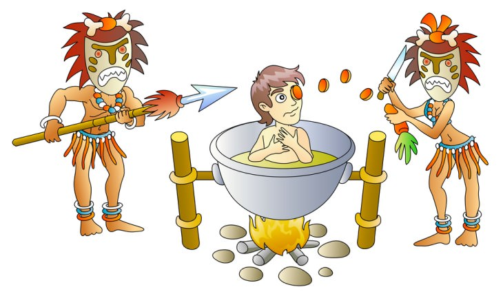joke: 2 drawn cannibals with masks cooking a white man