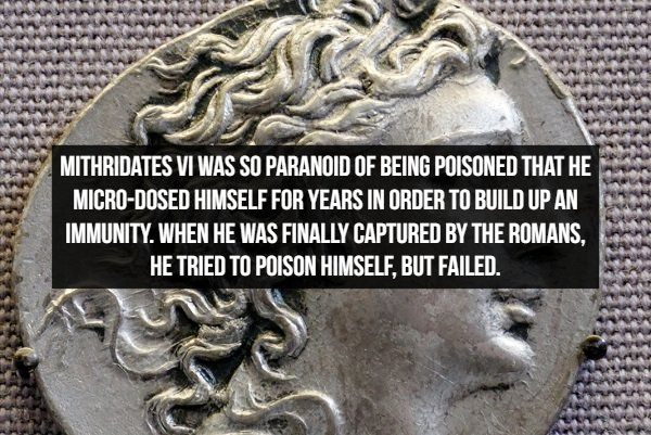 Amazing Historical facts, paranoid Mithridates VI built up an immunity to poison