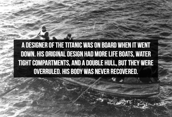 Amazing historical facts, death of the Titanic's designer and details of the Titanic's original design
