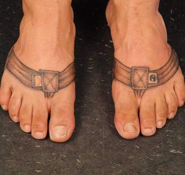 funny pictures of bad ideas, tattoo on feet to resemble sandal straps