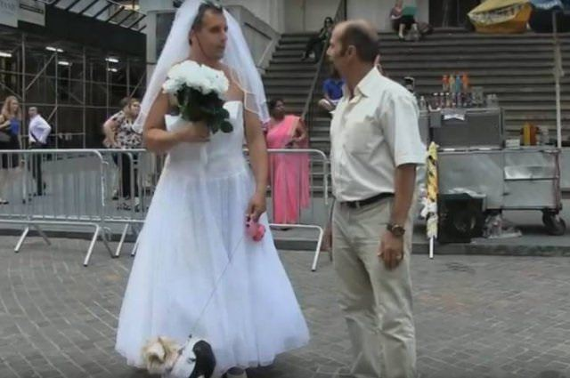 funny pictures of bad ideas, man in wedding dress and bouquet with another man