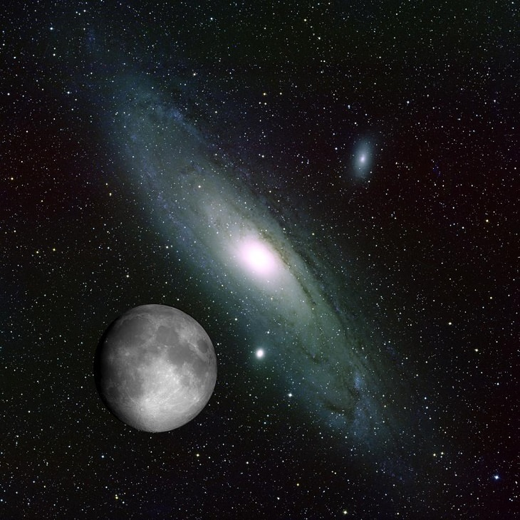 Pictures of the wonders of the cosmos, space and the universe from different conservatories, Collage of Andromeda and the Moon, made to display the size of the Andromeda Galaxy in comparison to the moon, with both images taken separately at Kitt Peak National Observatory