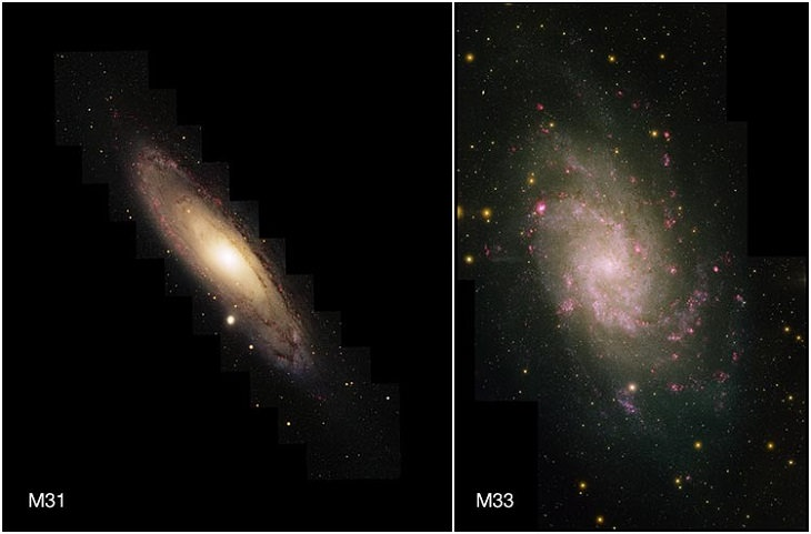 Pictures of the wonders of the cosmos, space and the universe from different conservatories, M31 and M33, two of the largest members in the Local Group of Galaxies, the Milky Way being the third, taken at Kitt Peak National Observatory