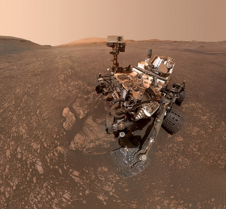 """Pictures of the wonders of the cosmos, space and the universe from different conservatories, Selfie taken by NASA's Curiosity Mars rover at drill sites """"Aberlady"""" and """"Kilmarie."""""""