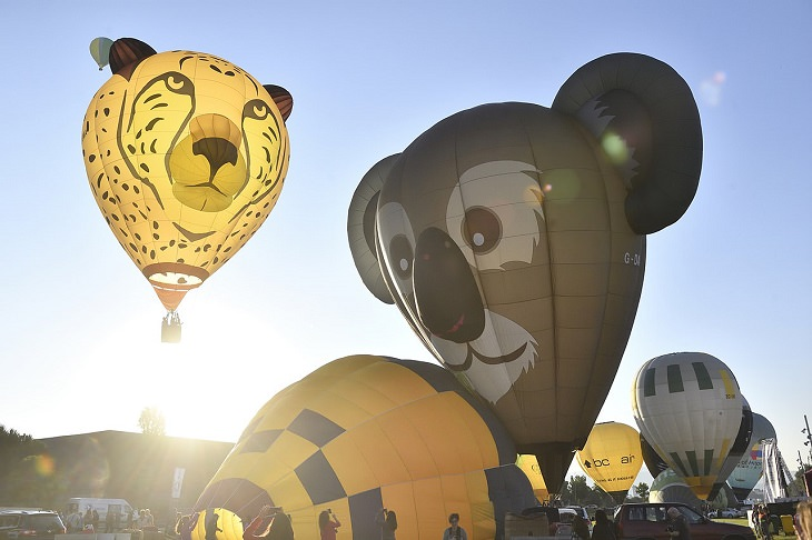 Different Hot air Balloons from Around the World, European Balloon Festival, balloon shaped as animals