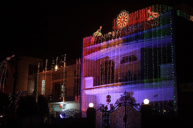 Photos from Diwali, the festival of lights, Houses with Diwali lights in Haryana, India