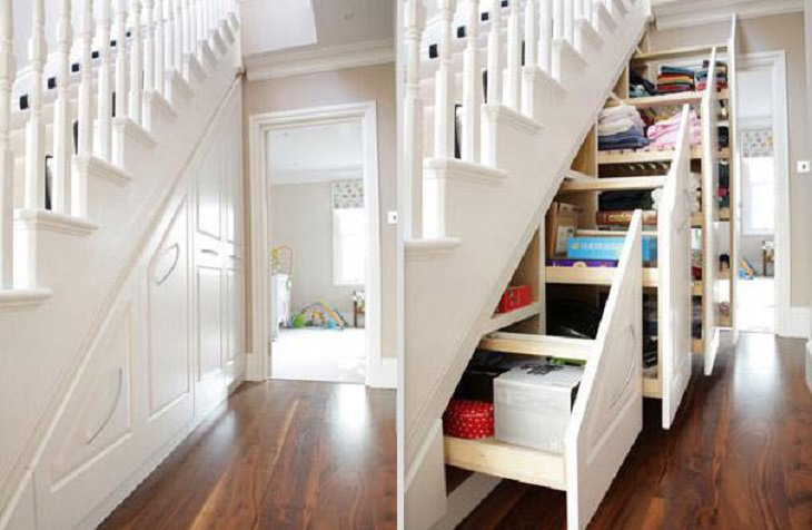 Incredible Innovative Design Ideas, series of drawers in the space underneath a staircase