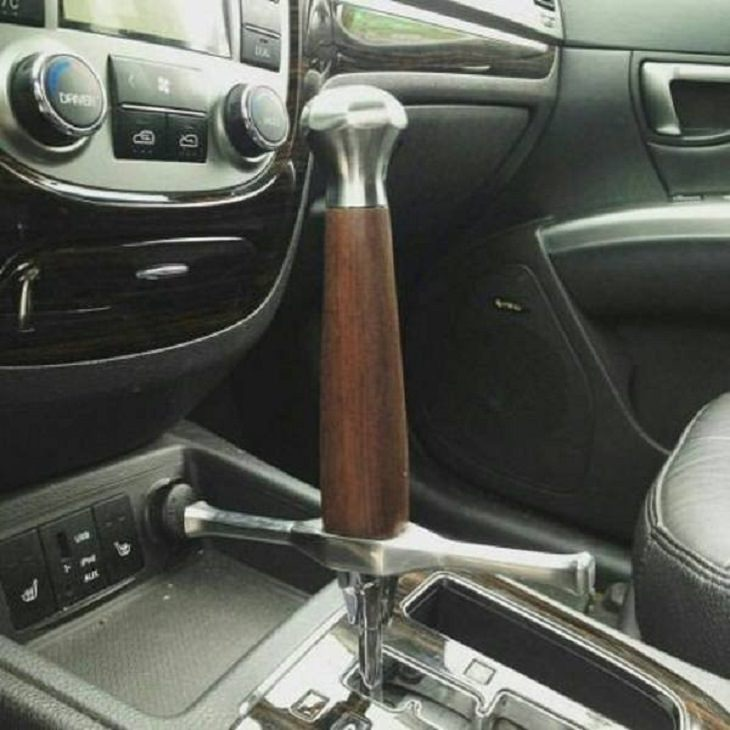 Hilarious but Smart Life Hacks, a gear lever of a car with an extended lever