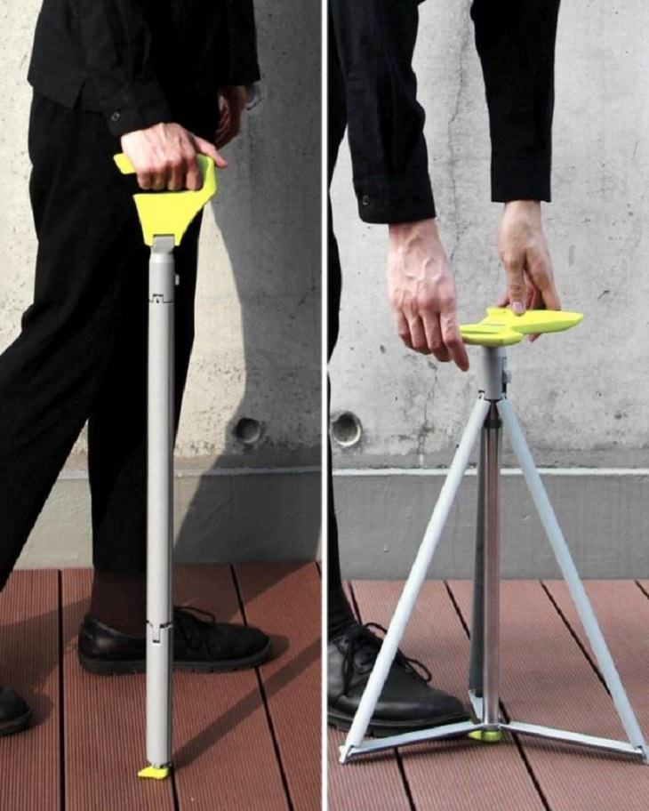Incredible Innovative Design Ideas, two pictures, one with a man walking with a cane and the second of the cane being transformed into a small portable seat