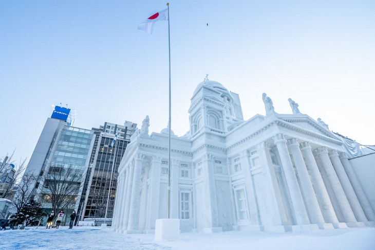 Snow Sculptures and Statues from Festival, 52 Foot tall snow sculpture of Finland's Helsinki Cathedral, at the Sapporo Snow Festival in Japan
