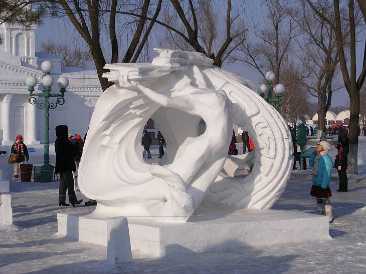 Snow Sculptures and Statues from Festival, Snow Sculpture at the Snow and Ice World festival in Harbin, China
