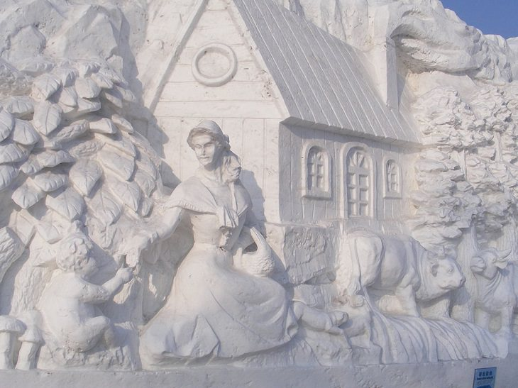 Snow Sculptures and Statues from Festival, Finnish folk tales at the Harbin International Ice and Snow Sculpture Festival