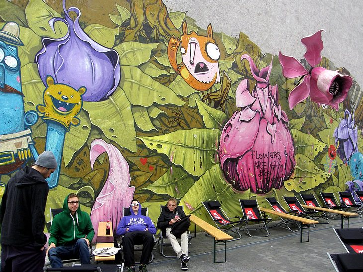 Beautiful Street art and graffiti murals from around the world, multi-colored mural with variety of shapes