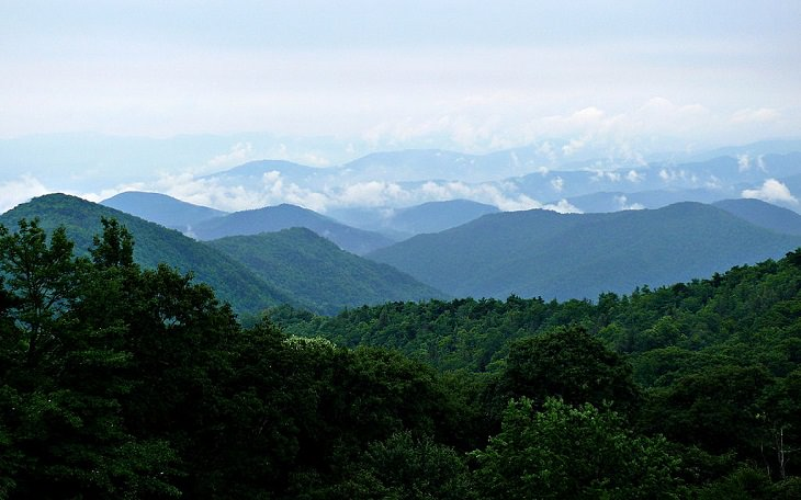 Beautiful sights and views of various mountains, peaks and wildlife in the blue ridge mountain range, The Blue Ridge Mountains as seen from the Blue Ridge Parkway near Mount Mitchell in North Carolina