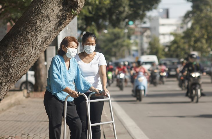 new study reveals air pollution can increase risk of dementia and alzheimer's disease, old woman with walker walking with young woman and both wearing masks to protect from air pollution