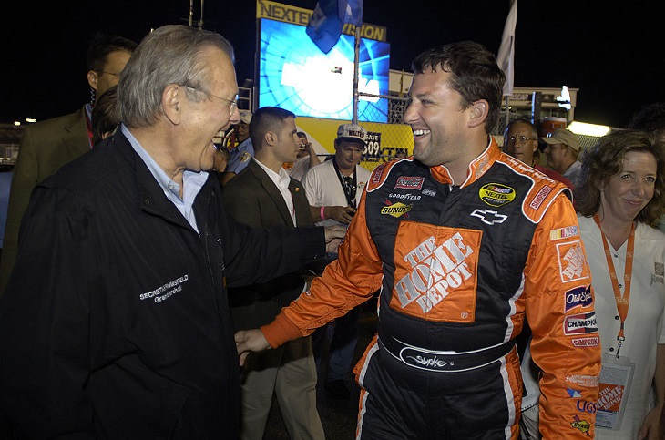 Top 19 NASCAR Race Drivers to Win Multiple Tracks, United States Secretary of Defense and grand marshal Donald Rumsfeld (left) and Tony Stewart share a laugh before the 2005 Pepsi 400