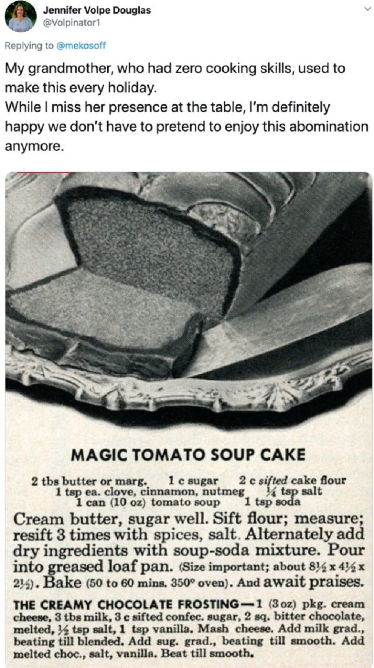 Strange thanksgiving recipes, foods and traditions, recipe for magic tomato soup cake with creamy chocolate butter