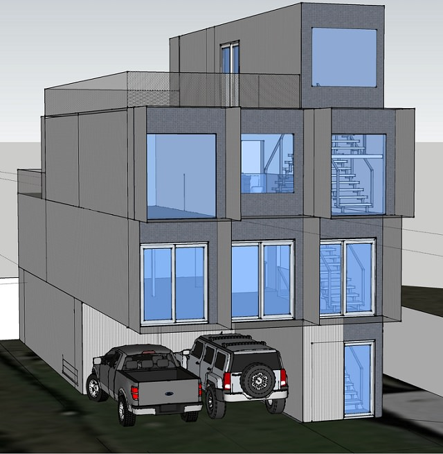 Will Breaux builds a house out of Eleven Shipping Containers, graphic image of the house plan
