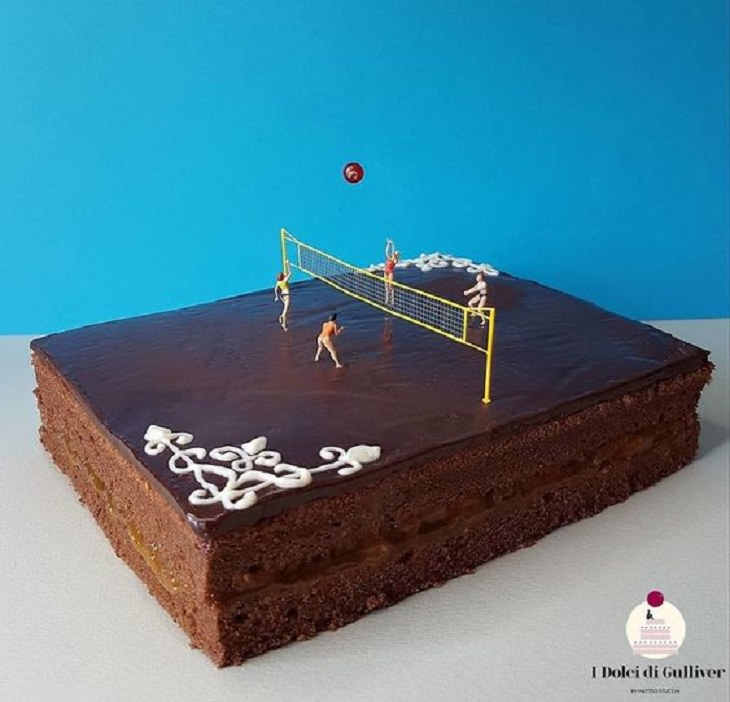 Beautiful Cakes Designed by Italian Chef, Two layer chocolate cake with miniature figures playing volleyball