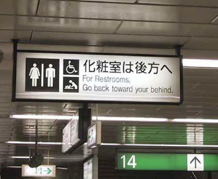 Funny foreign language signs, translations fails, Black and white sign saying For Restrooms, go backward toward your behind
