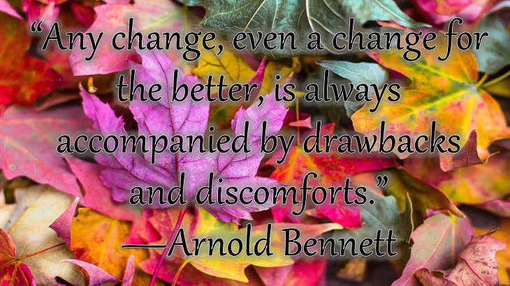 """Changes on embracing and coping with change, loss and difficulty, """"Any change, even a change for the better, is always accompanied by drawbacks and discomforts.""""  —Arnold Bennett"""