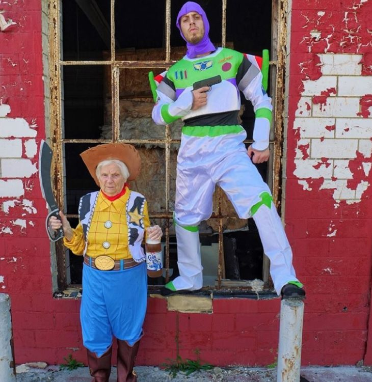 duo of grandmother and grandson, ross smith, wear fun costumes for social media, dressed up as woody and buzz lightyear from Toy Story