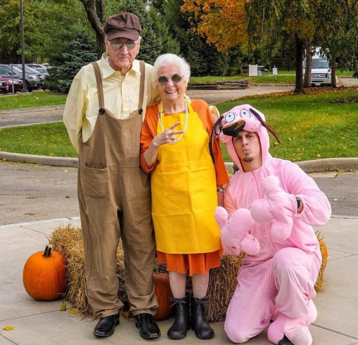 duo of grandmother and grandson, ross smith, wear fun costumes for social media, dressed as courage the corwardly dog and family