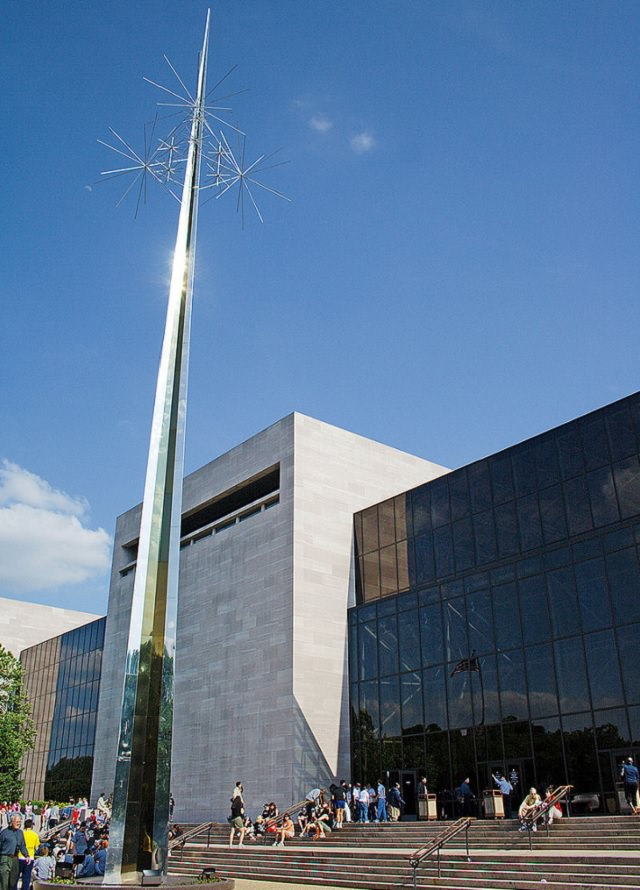 """Historical treasures and incredible exhibits in the National Air and Space Museum in the National Mall of Washington DC, Ad Astra (""""to the stars""""), the sculpture at the entrance of the museum, built by architect Gyo Obata"""